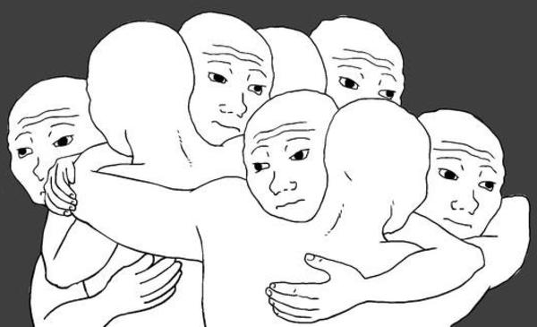 wojak group hug